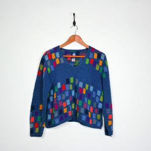 Vintage AMANO Block Print V-neck Sweater